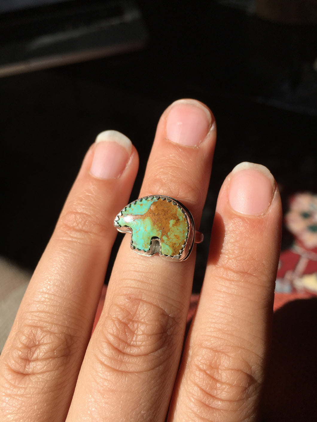 Osito Ring #2 - Earthy blue-green turquoise (size 5+)