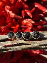 Load image into Gallery viewer, Carved black onyx flower studs