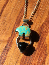 Load image into Gallery viewer, Osito Necklace #5 - Light teal turquoise with black onyx