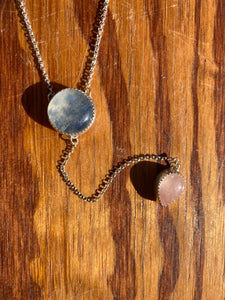 Round Moonstone with Rose Quartz Lariat Necklace