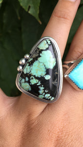 Minty green Saguaro variscite statement ring - size 7.5