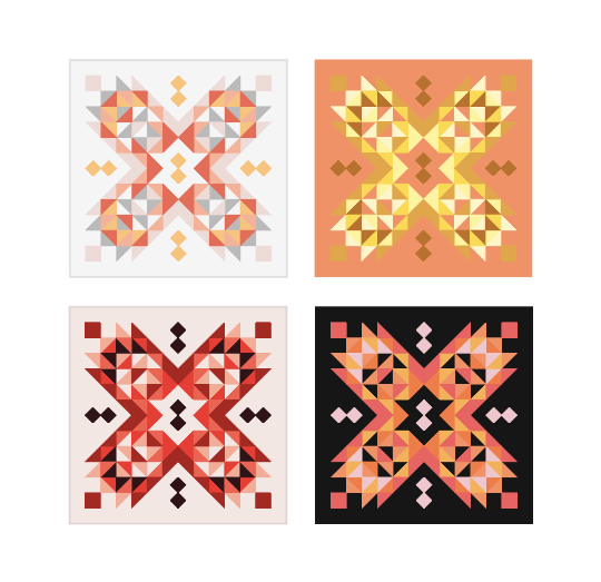 Color Variations for Suncake Quilt Pattern