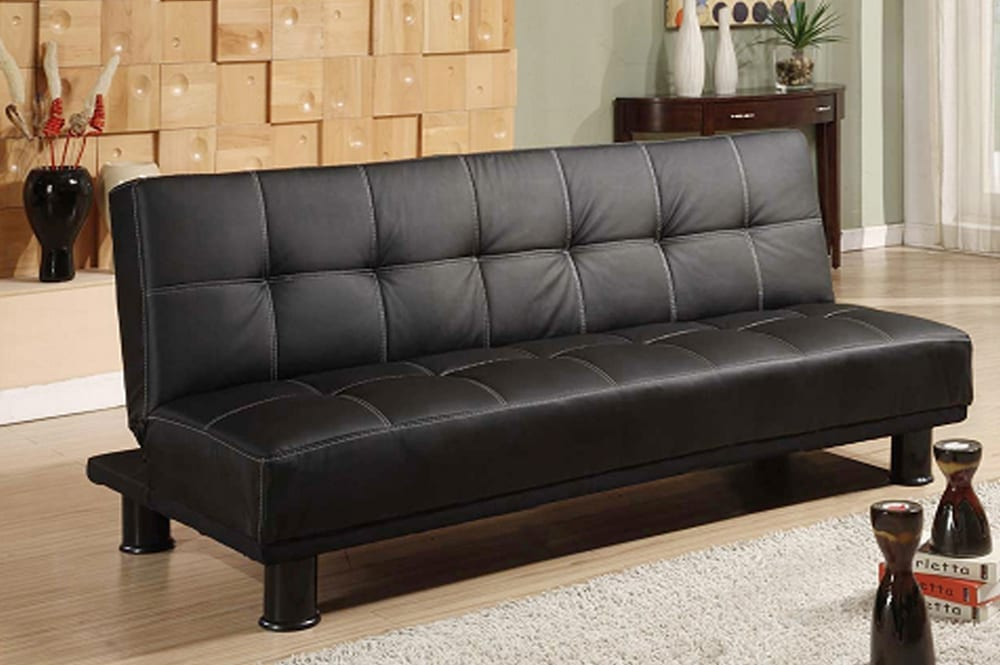 Black leatherette Convertible Sofa Bed