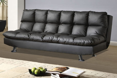 *Top Pick* Black Executive Quilted Leatherette Sofa Bed