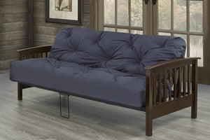 Solid Wood Arm Metal Frame Futon 2 Mattress Types Available
