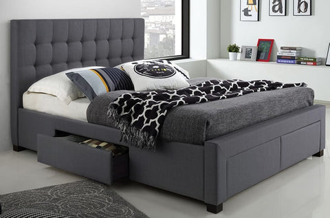 Upholstered Platform Storage Bed Grey Linen Style Fabric