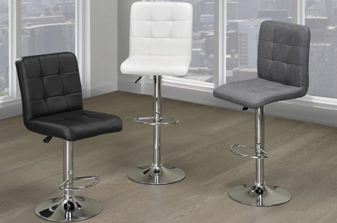 Adjustable Hydraulic Lift Bar Stools Grey Linen Or Black/White Leatherette