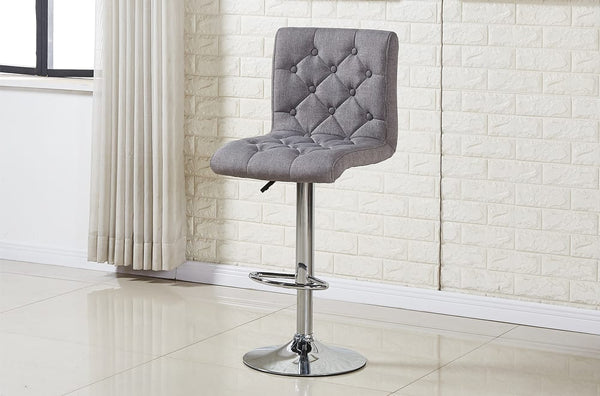 Adjustable Hydraulic Tufted Grey Fabric Or Black/White Leatherette Bar Stools
