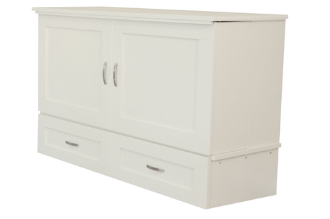 CabinetBed™ Country Style - Premium Queen Size White - CompactSleepSolutions