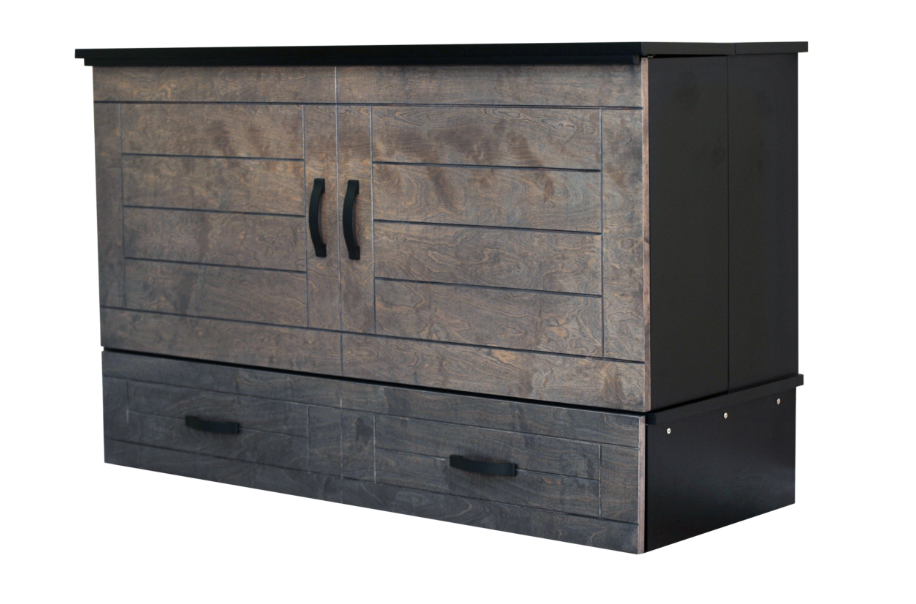 CabinetBed™ Metro - Deluxe Queen Size 2 Tone Black and Grey - CompactSleepSolutions