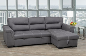 Grey Air Suede Pull Out Sectional Sofa Bed With Storage Floating Ottoman