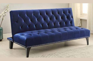 Stylish Blue Fashion Sofa Bed Deep Button Tufted Velvet with Classic Nail Heads
