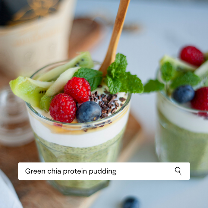 Green chia protein pudding