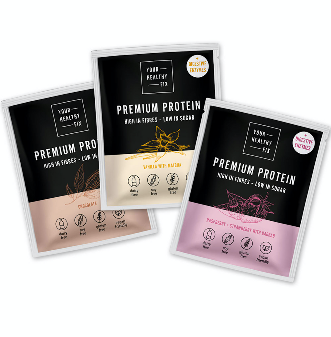 Protein sample pack - Vanilla, Chocolate, Strawberry