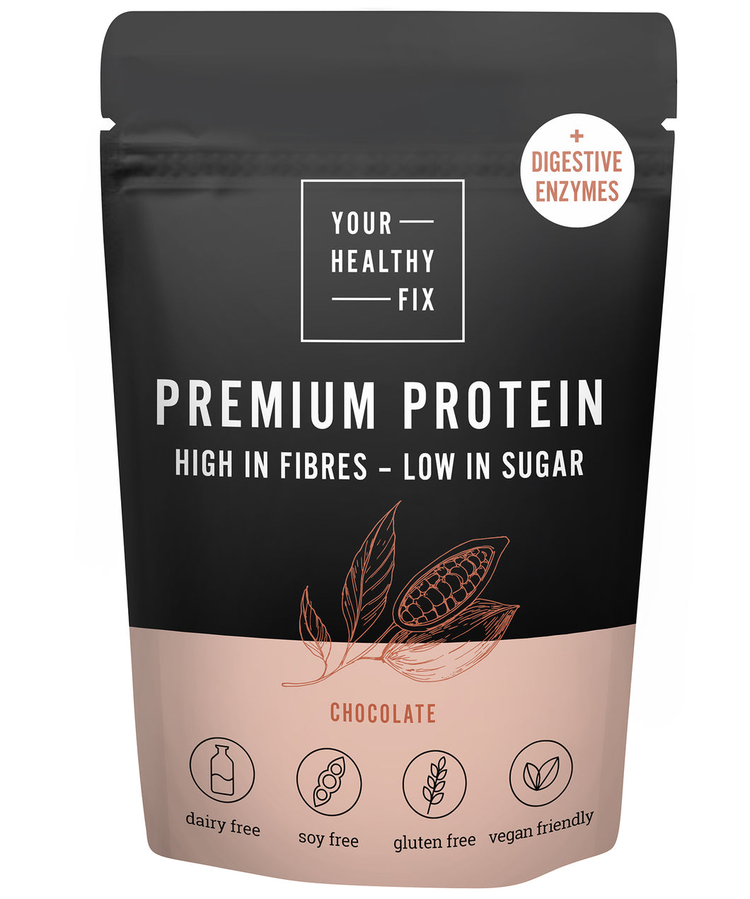 Chocolate protein with digestive enzymes