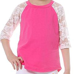 Hot Pink 3/4 Sleeve Lace Tee