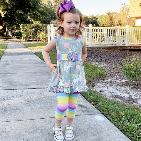 Rainbow Unicorn Dress w/ Capris