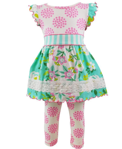 AnnLoren Pink & Mint Dot Spring Capri Dress Set