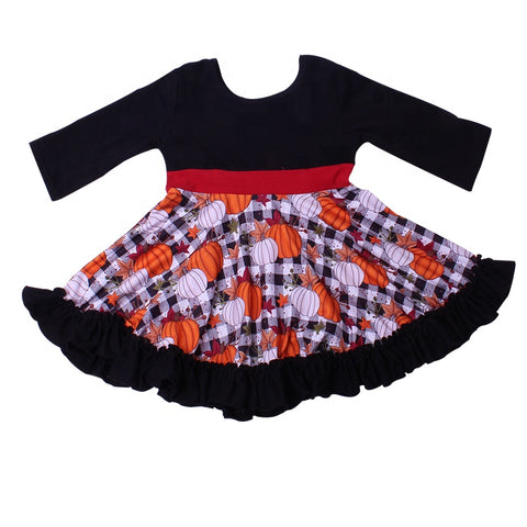 Buffalo Plaid Pumpkin Twirl Dress
