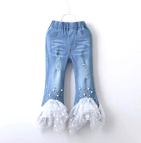 Distressed Tulle Pearl Flare Jeans