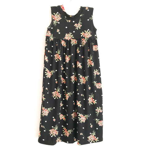 Black Floral Tank Maxi Dress ~ Handmade in USA
