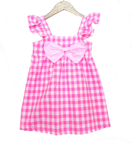 Pink Picnic Gingham Bow Dress