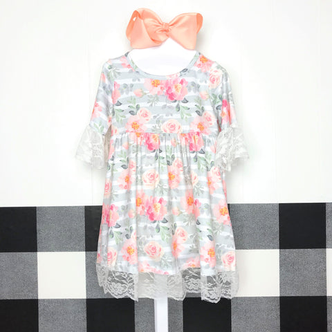 CuteE Girls EXCLUSIVE Presley Peach Floral Dress