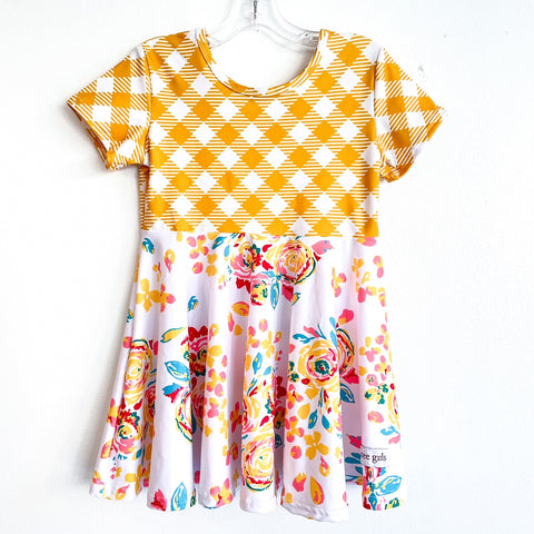Yellow Floral Gingham Twirl Dress ~ Cutee Girls Custom