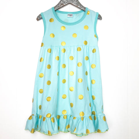 Teal and Gold Polka Dot Dress