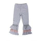 Triple Ruffle Gray & Rose Pink Leggings