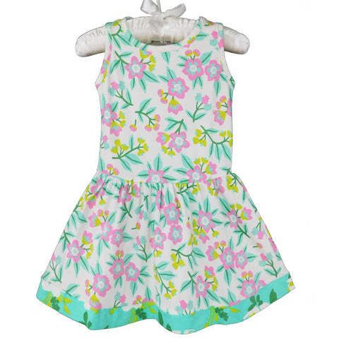 AnnLoren Floral Pastel Floral Cotton Knit Swing Dress