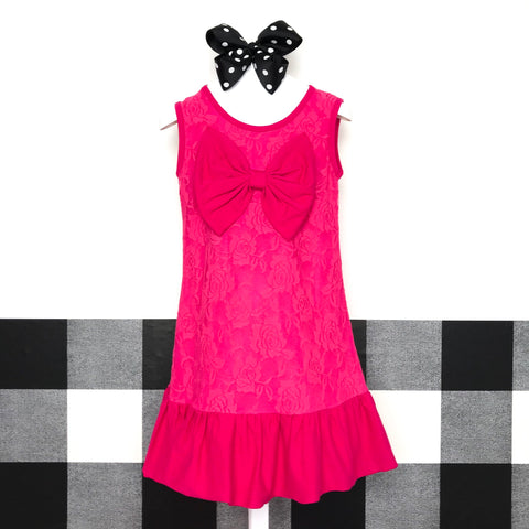 Drop Waist Lace Bow Dress