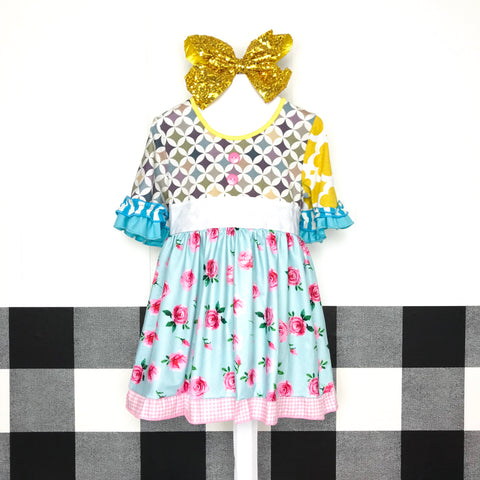 Crazy Patch Diamond Rose Dress