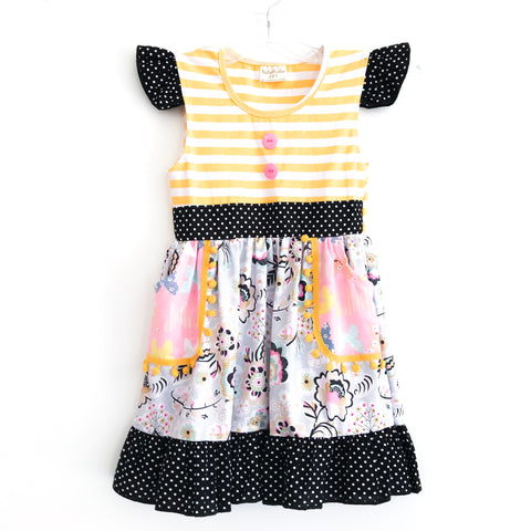 Black Dot Butterfly Ruffle Dress