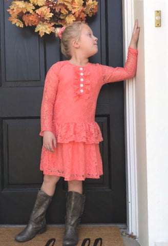 Coral Lace Ruffle Dress with Buttons