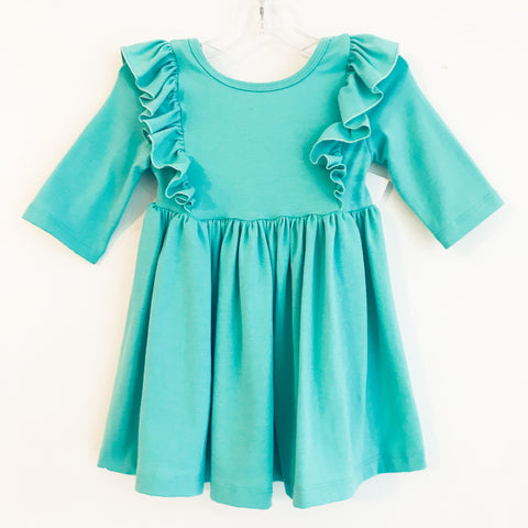 Kelly Green Cotton Ruffle Dress