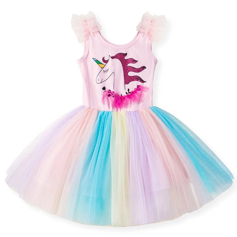 Light Pink Pastel Unicorn Birthday Dress