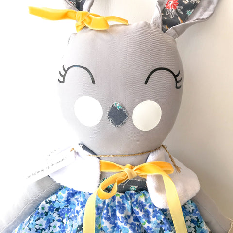 "Handmade Forest Friend Button ~ 18"" Bunny Doll"
