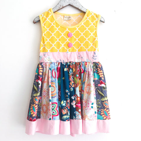 Yellow Trellis Patch Dress