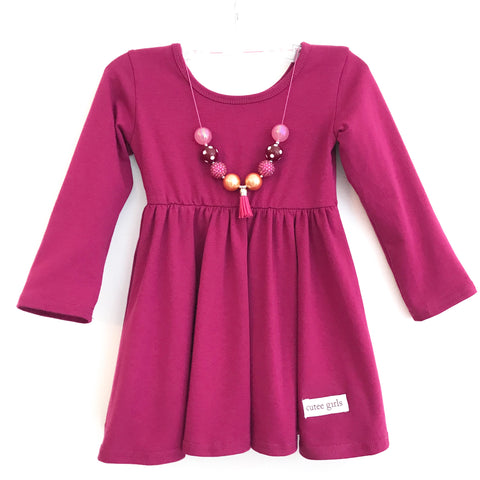Plum Cotton Twirl Dress ~ Cutee Girls Fall Basics
