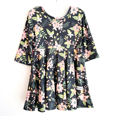 Black Watercolor Fall Floral Twirl Dress