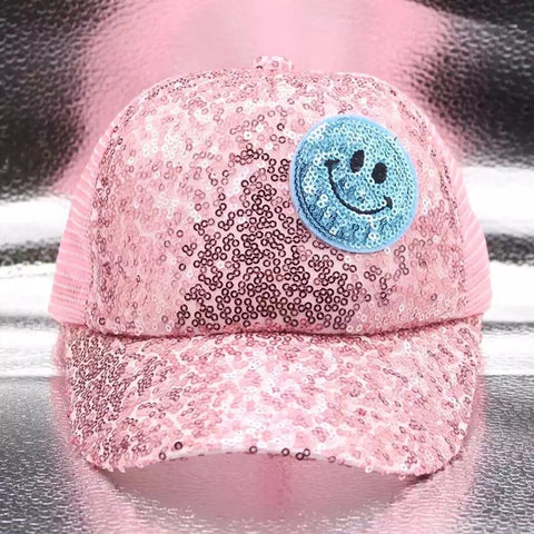 Girls Sequin Smiley Face Snapback Hat