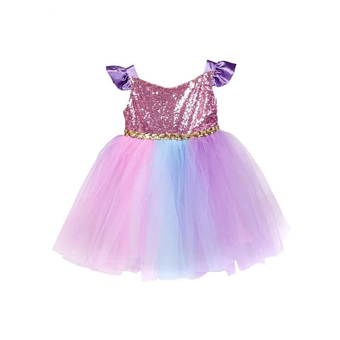 Pink Sequin and Tulle Party Dress