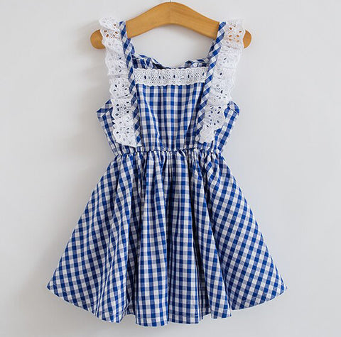 Gingham Picnic Dress ~ Blue or Red *PREORDER*