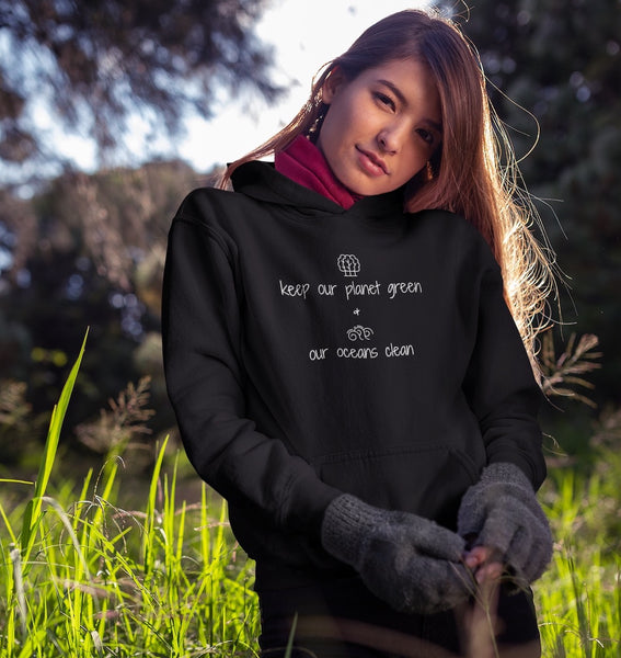 Keep Our Planet Green And Our Oceans Clean - Vegan Hoodie for vegans out there! UltraVe provides premium vegan clothing that are cruelty-free, ethical and sustainable. 10% of our profits are donated to animal welfare charities. We have vegan hoodies, vegan tshirts, vegan sweatshirts. Go Veganism!!