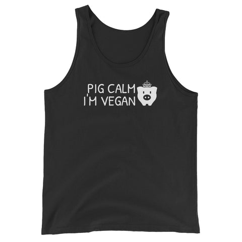 Pig Calm I'm Vegan - Vegan Tank Top for vegans out there! UltraVe provides premium vegan clothing that are cruelty-free, ethical and sustainable. 10% of our profits are donated to animal welfare charities. We have vegan hoodies, vegan tshirts, vegan sweatshirts. Go Veganism!!