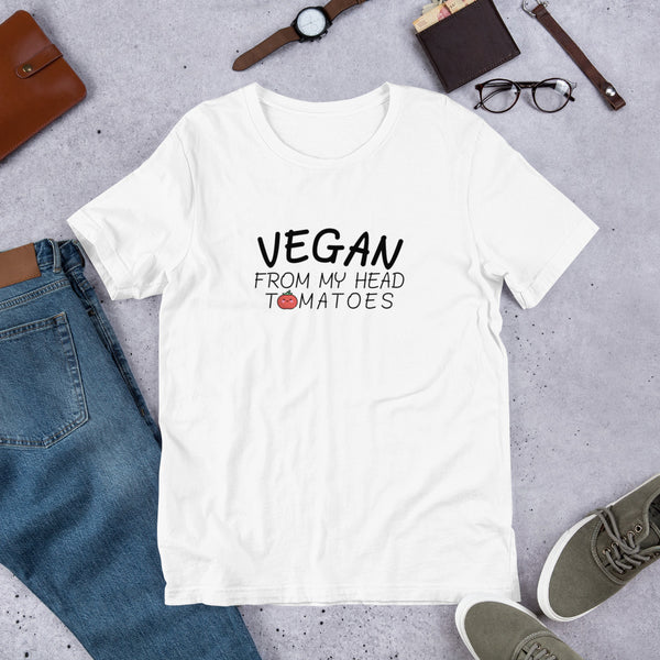 Vegan From My Head Tomatoes - Vegan Tee for vegans out there! UltraVe provides premium vegan clothing that are cruelty-free, ethical and sustainable. 10% of our profits are donated to animal welfare charities. We have vegan hoodies, vegan tshirts, vegan sweatshirts. Go Veganism!!