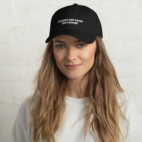 Vegans Are From The Future - Vegan Hat for vegans out there! UltraVe provides premium vegan clothing that are cruelty-free, ethical and sustainable. 10% of our profits are donated to animal welfare charities. We have vegan hoodies, vegan tshirts, vegan sweatshirts. Go Veganism!!