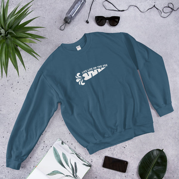Live Life On The Veg - Vegan Sweatshirt for vegans out there! UltraVe provides premium vegan clothing that are cruelty-free, ethical and sustainable. 10% of our profits are donated to animal welfare charities. We have vegan hoodies, vegan tshirts, vegan sweatshirts. Go Veganism!!