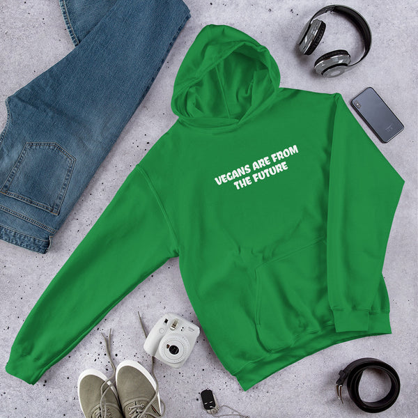 Vegans Are From The Future - Vegan Hoodie for vegans out there! UltraVe provides premium vegan clothing that are cruelty-free, ethical and sustainable. 10% of our profits are donated to animal welfare charities. We have vegan hoodies, vegan tshirts, vegan sweatshirts. Go Veganism!!